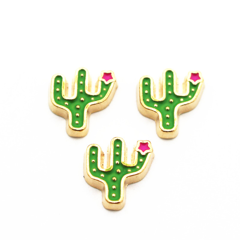 10pcs/lot Metal Enamel Cactus Gold Floating Charms For Living Glass Floating Lockets Pendant Necklace Bracelet DIY Jewelry