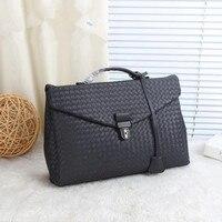 Kaisiludi leather woven men's bag handbag business men's briefcase waxed cowhide postman bag computer shoulder slant span bag