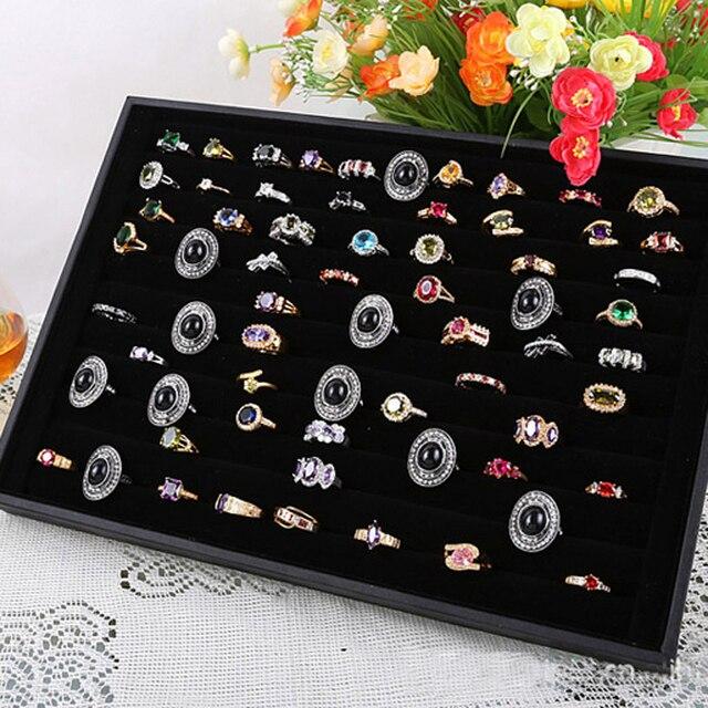 Ring Display Velvet Rings Box Jewelry Display Case Jewellery Box Tray Showcase Free Shipping