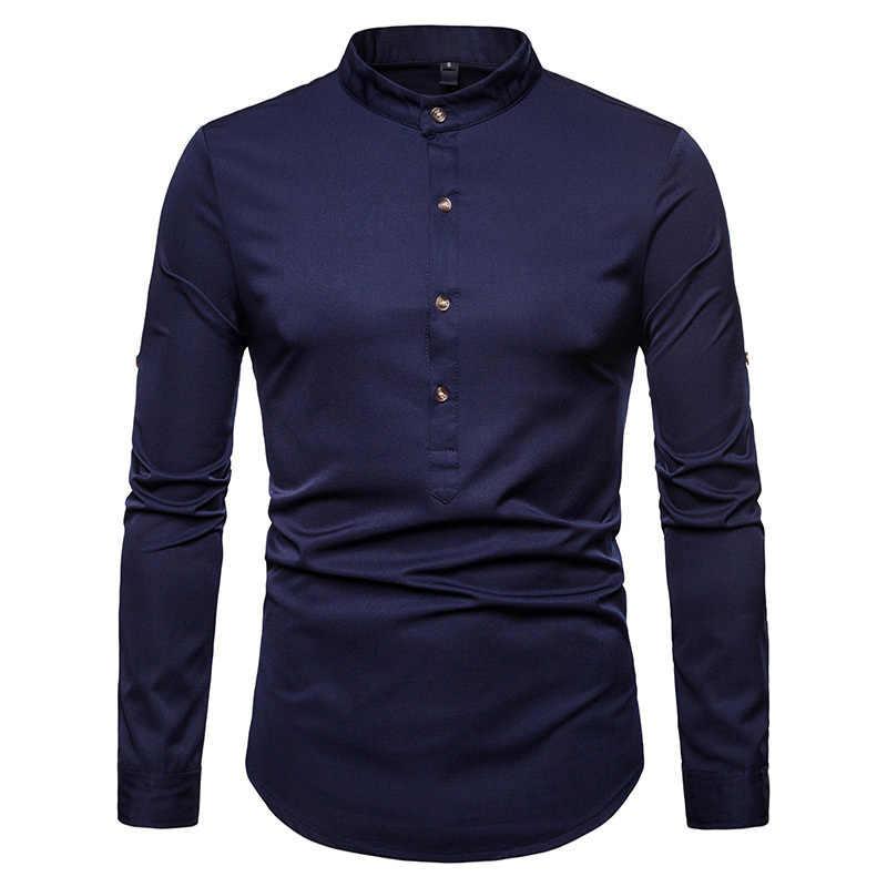Осень 2018 г. Новый для мужчин Шелковый Атласные Рубашки китайский стиль воротник стойка мужской рубашки с длинными рукавами Slim Fit одноцветн