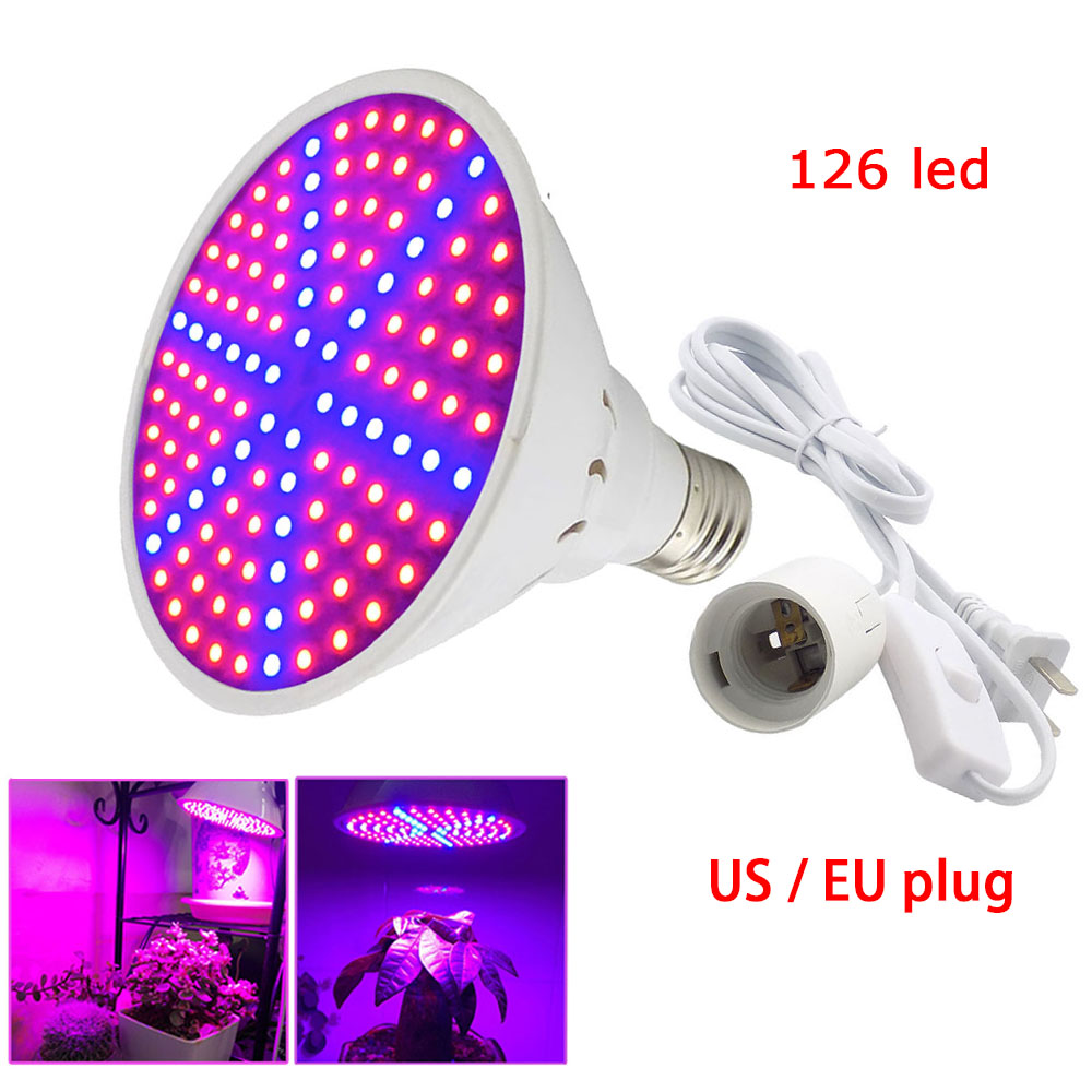 Led Seedling Bulbs 126Led Plant Grow Light Lamp With Ac Power Cable Adapter Holder Flower Growth Growing For Indoor Greenhouse