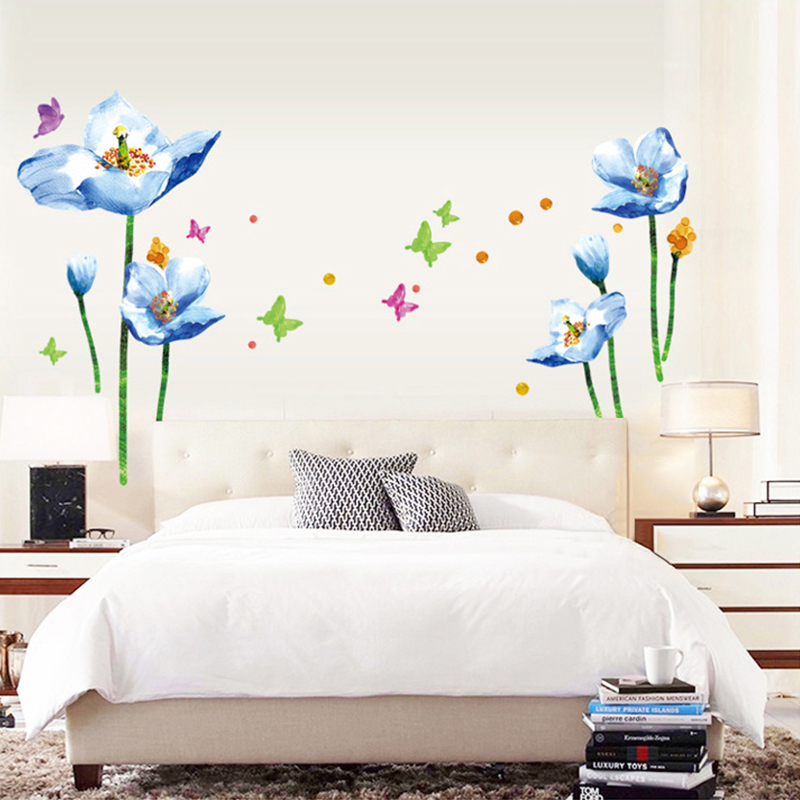 large blue flower wall stickers colorful romantic love large black vine flower rattan butterfly removable vinyl