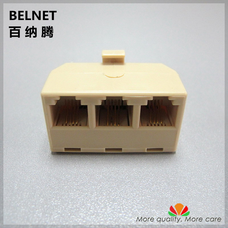 RJ11 Phone Splitter One Into Three Outputs 4 Through Head Telephone Adapter Horns A Telephone Line Into Three Lines Connector
