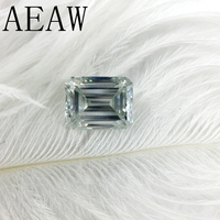 AEAW 3Carat 7x9mm Light Blue Color Certified Man Made Diamond Loose Emerald Moissanite Bead Test Positive As Real Diamond