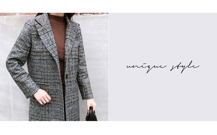 19 Spring Autumn Women's Wool Plaid Coat New Fashion Long Woolen Coat Slim Type Female Winter Wool Jackets Female Outw 9