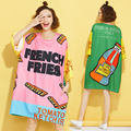 Free shipping New Summer Fashion Tide brand long T Shirt Dress Loose women Dress  Female Letter Digital Printed cartoon Dresses
