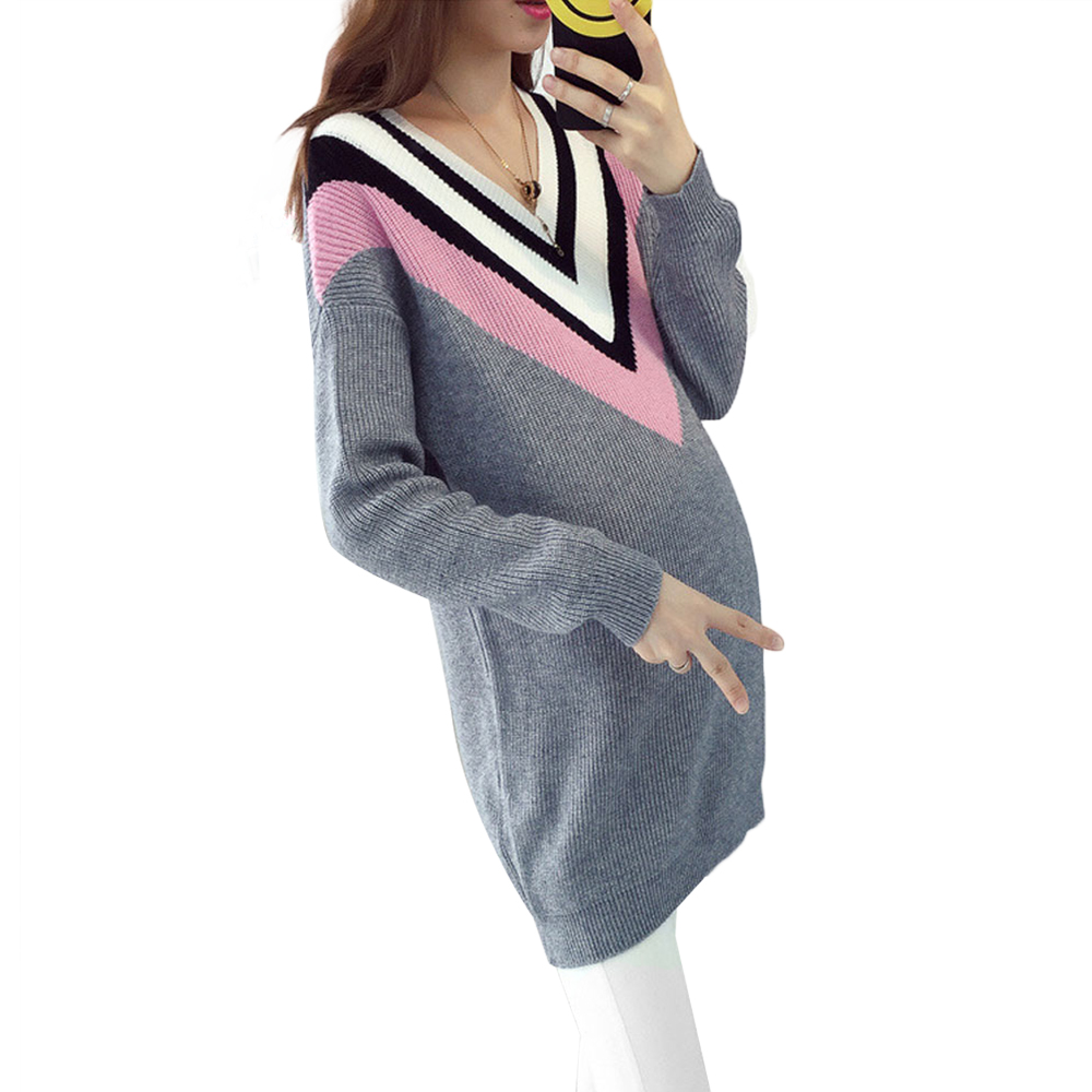 Hot 2017 Autumn and winter maternity High Collar sweater long loose v neck sets of head