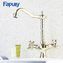 Fapully Gold Basin Faucet Bathroom Deck Mounted Double Handle Gold Plated Tall High Bathroom Sink Faucet flg basin faucet gold plated