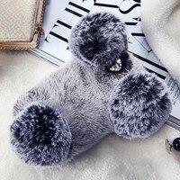 Kaninchen Hart Fundas Fall Für iPhone 7 7 Plus Flauschigen Fell Haarigen Abdeckung für iPhne 7 7 Plus 3D Kaninchen Panda Bär Ohr Winter Warme Stil
