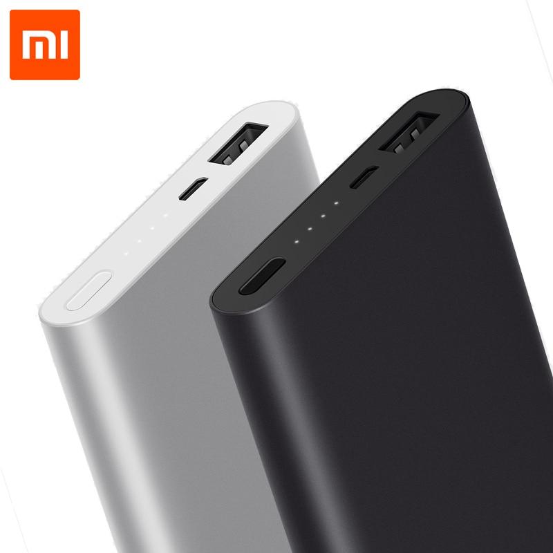 Цена за 10000 мАч Xiaomi Мощность банк 2 внешних Батарея 18 Вт Quick Charge Ultra Slim для Мобильные телефоны быстрая перезарядка один usb цифровой
