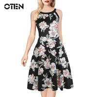 OTEN Womens Clothes Big Sizes Elegant Vintage Women Bird Flower Floral Print Casual Vintage Party Skater