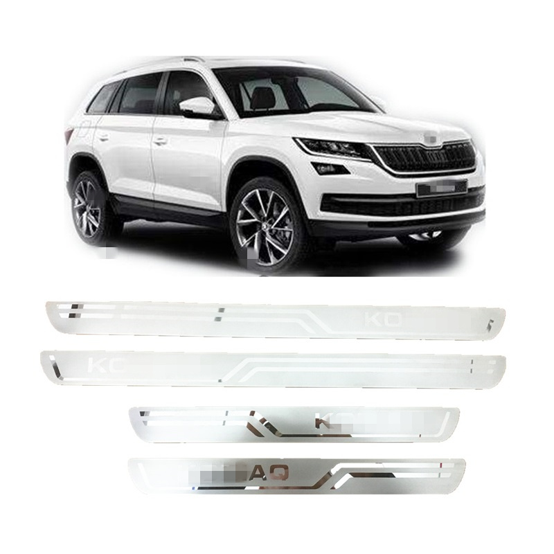 Ultra Thin Stainless Steel Scuff Plate Door Sill Cover Sticker Suitable for Skoda KODIAQ 2016 2017 2018 Car Accessories car covers stainless steel scuff plate door sill 4pcs fit for 2007 2012 suzuki grand vitara car styling