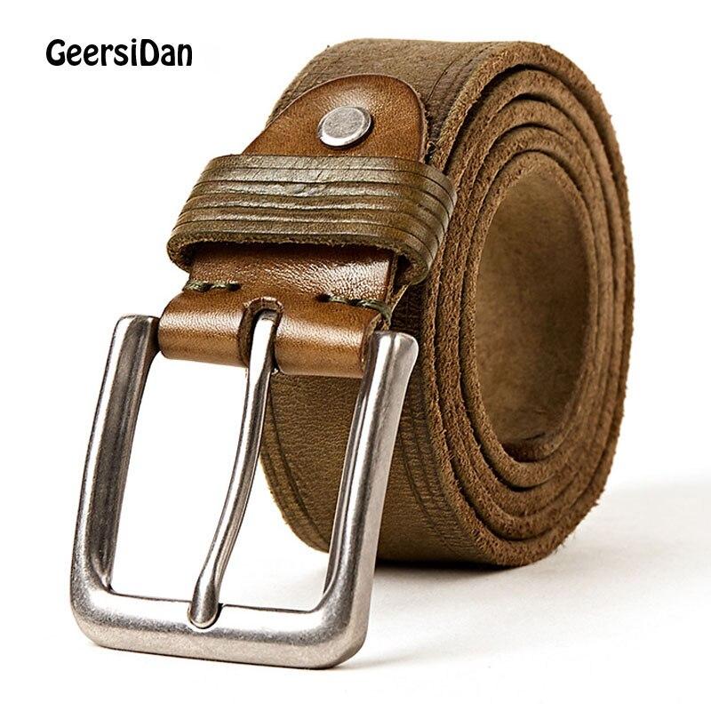GEERSIDAN 2018 Wear-resista hommes ceinture peau de vache en cuir véritable sangle mâle ceinture pour hommes nouvelle mode classique vintage boucle ardillon