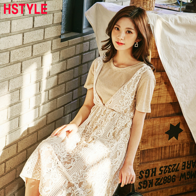 57c20739c996 HSTYLE 2018 Sexy Two-Piece Lace Dresses for Women Short Sleeves Summer  Fashion A Line Mid-Length Crew Collar Dress Feminino