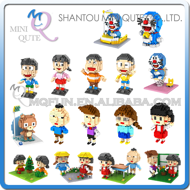 Mini Qute LOZ Diamond Anime Doraemon Chi-bi Maruko Bear plastic building block Bricks model action figures educational toy