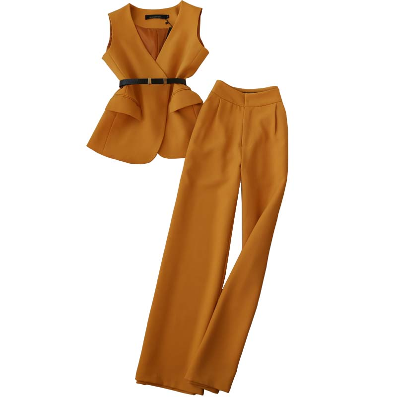 Set Female Spring New Fashion Suit Female OL Temperament V-neck Vest + High Waist Straight Wide Leg Pants Elegant Two-piece
