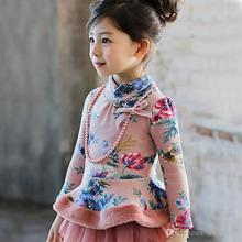 Sweet Kids Girls Floral Print Fleece Tops Fall Winter Ruffles Fashion Tops Princess Holiday Party Blouse