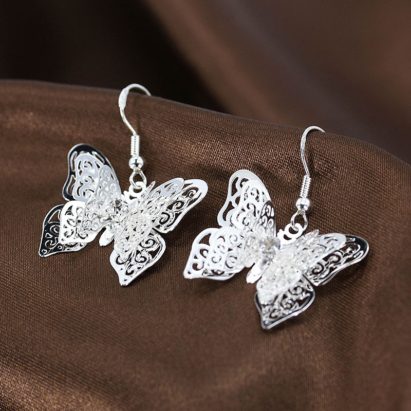 1Pair Womens Silver Plated Butterfly Ear Hook Earrings Fashion Summer Boho Luxury Brand Crystal Dangle Earring
