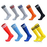 9 Colors Men Adult Rib Trim Over Knee Football Soccer Long Socks Double Stripes Printed Breathable Sport Compression Hosiery Tow
