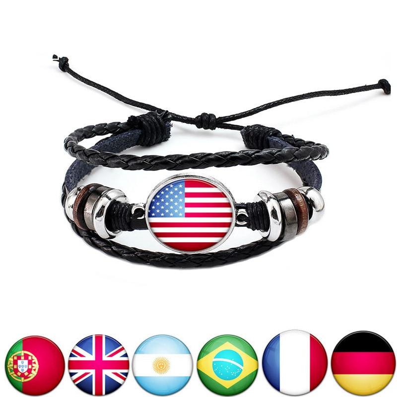 KobitAce 2018 World Cup bracelet national flag Diy hand knitting Leather Weave Multilayer Punk Men and women charm bracelet