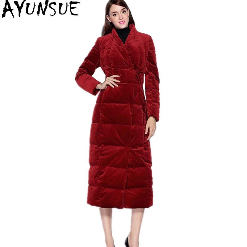 Vestes Ayunsue Veste long Outwear Mince Wyq745 Manteau Le Bas Chaud Vers brown Doudoune Femmes Red X gray Taffetas Hiver Femme Canard CpqC46