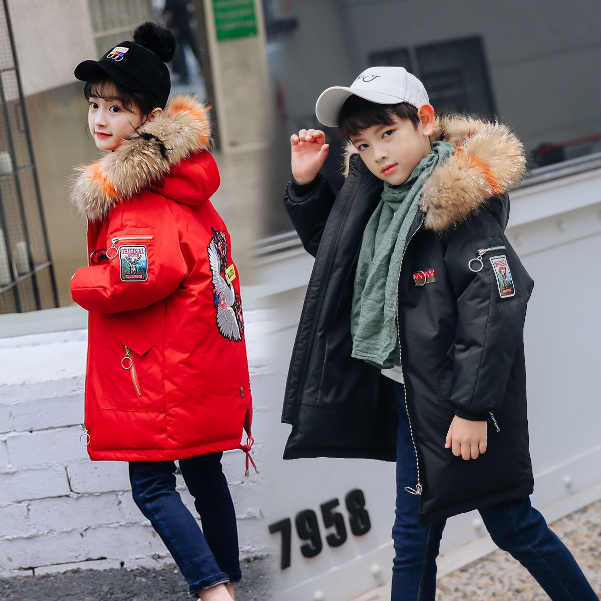 купить 2018 winter down jacket parka for girls boys coats , 90% down jackets children's clothing for snow wear kids outerwear & coats по цене 3738.05 рублей