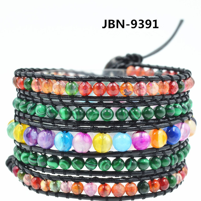 Women jewelry boho Leather  Bracelet Multilayer Bracelets& bangles for Women/Men natural agate  beads bracelet  JBN-9391