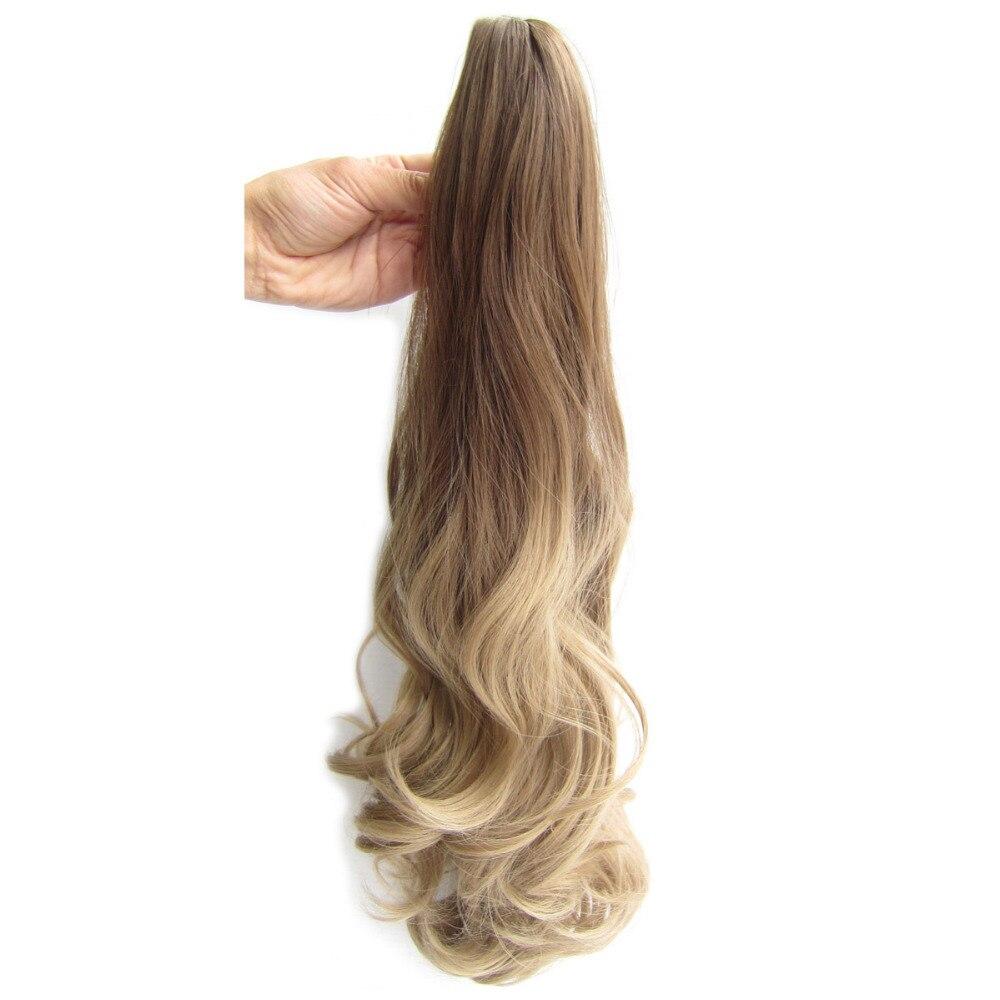 Delice 22inch Kvinnors Färgglada Ombre Vågig Hästsvans Svart Grå - Syntetiskt hår - Foto 3