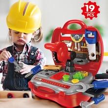 Boys Toys Building Tools 19Pcs Kids House Pretend Play kids construction tools oyuncak Boy For Children