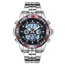 Stryve marca de luxo dos homens esportes relógios à prova dwaterproof água led quartzo dupla exibição militar relógios digitais aço inoxidável