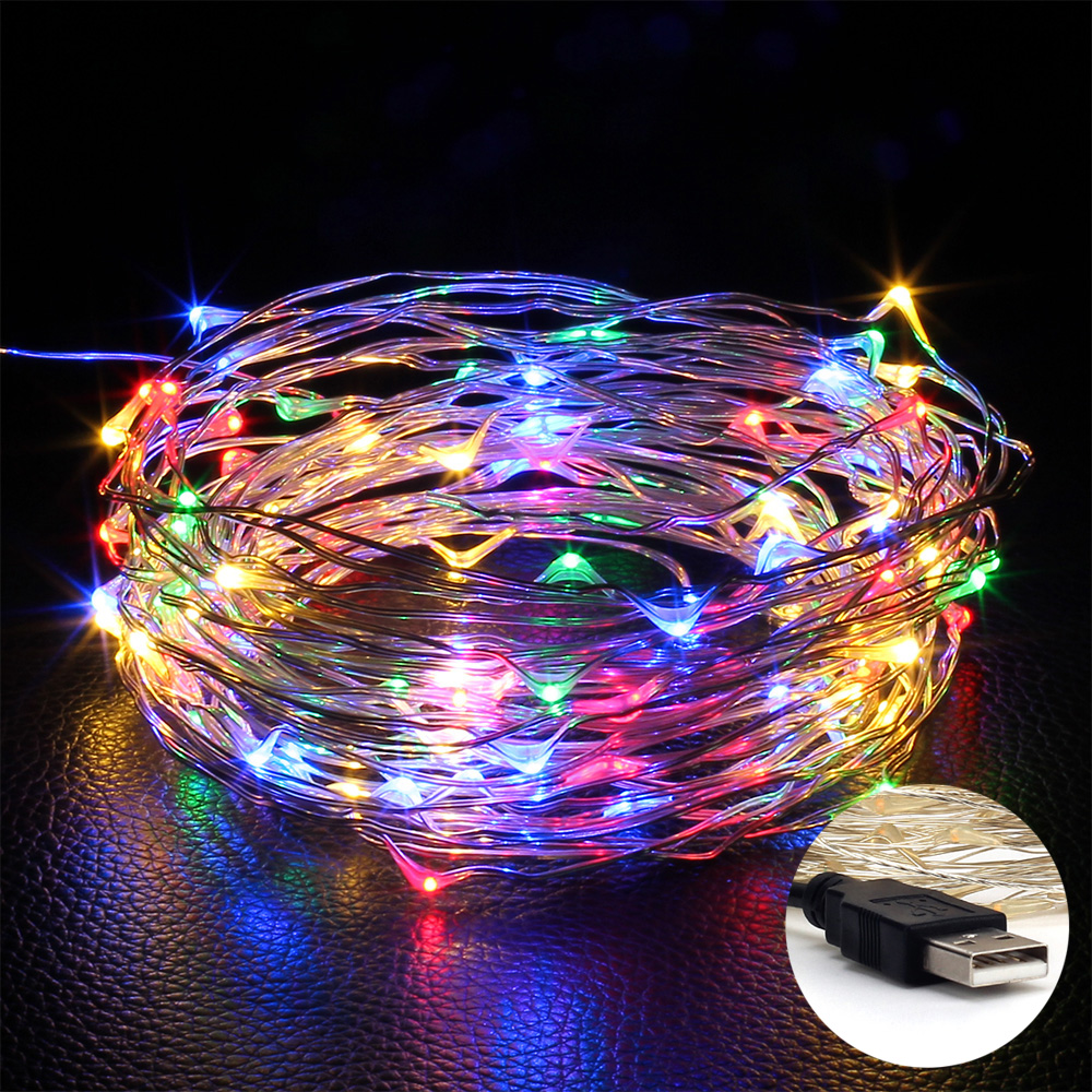 USB LED String Copper wire 10M 100LEDs Wedding Party Holiday Christmas Decoration LED Fairy String Light 3w 40 led blue light decoration string light for christmas wedding party 3 x aa