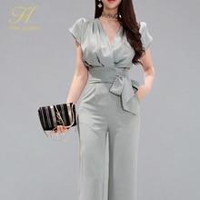 H Han Queen New 2 piece Suits Women 2019 Summer Elegant V neck Lace Up Crop Top & High Waist Solid Color Long Pants OL Work Set