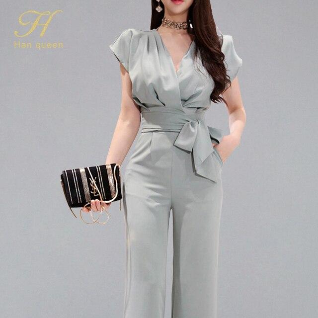 H han rainha novos ternos de 2 peças feminino 2019 verão elegante com decote em v rendas até colheita topo & cintura alta cor sólida calças compridas ol conjunto de trabalho