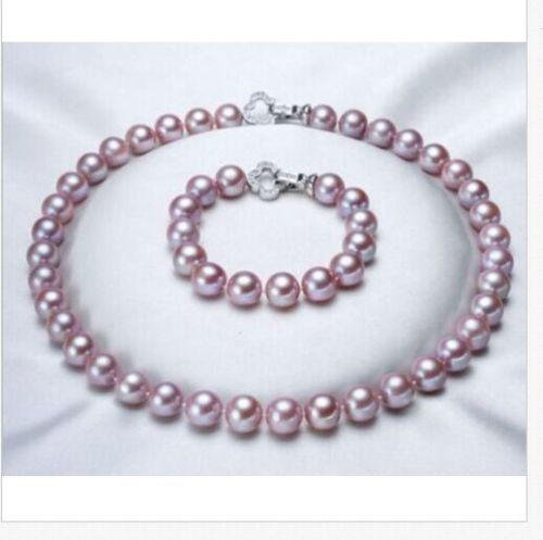 free shipping >>>>>gorgeous AAA++ 9-10mm south sea round lavender pearl necklace & bracelet цена и фото