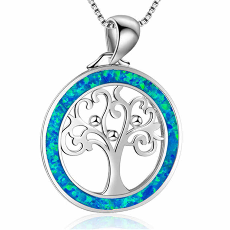Fashion Fire Opal Tree of Life Pendants Necklaces Women Boho Choker Necklace  Statement Ocean Beach Jewelry Christmas Gift
