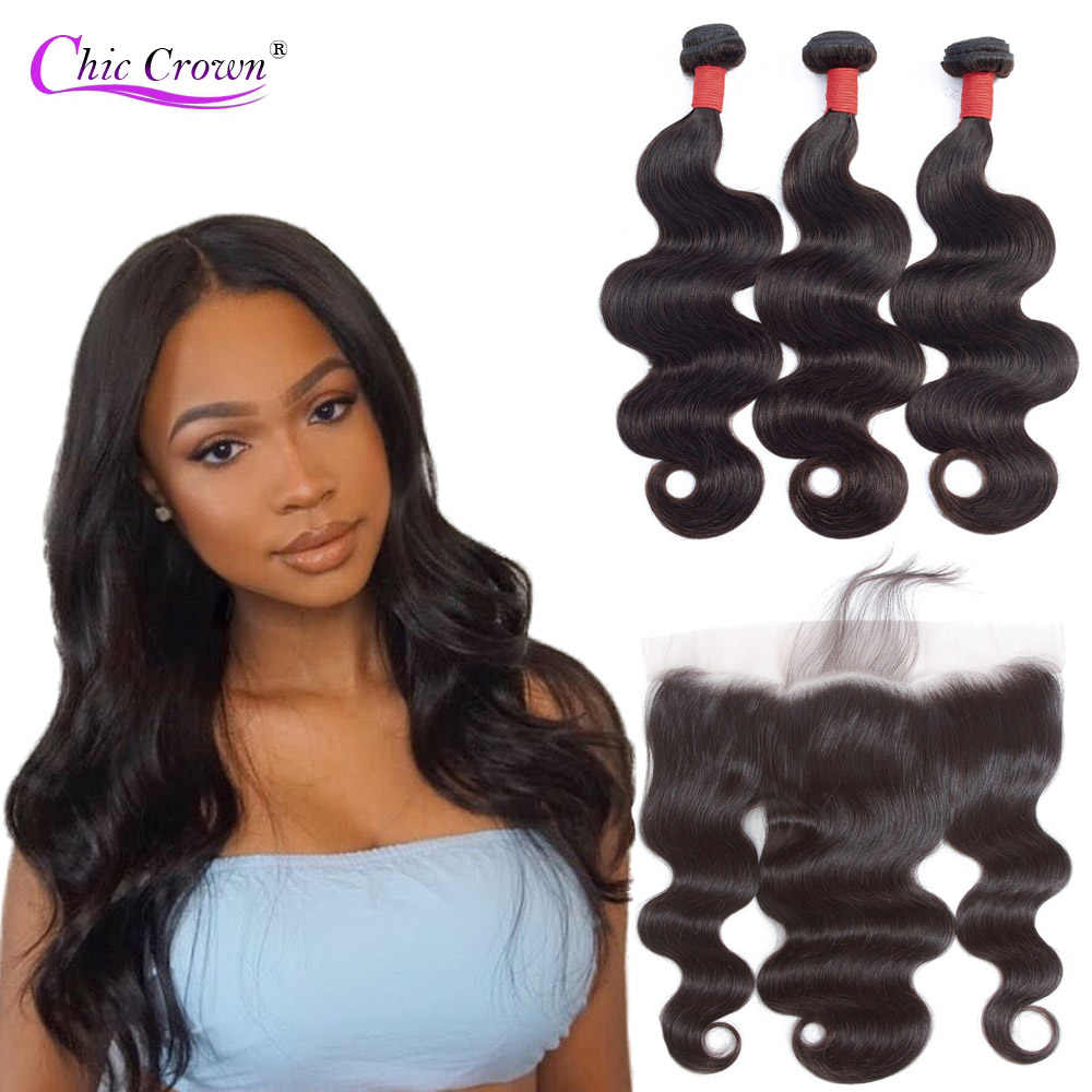 Brazilian Hiar Body Wave Bundles With Frontal 100% Human Hair Bundles With 13X4 Ear To Ear Lace Frontal Bodywave Remy Hair
