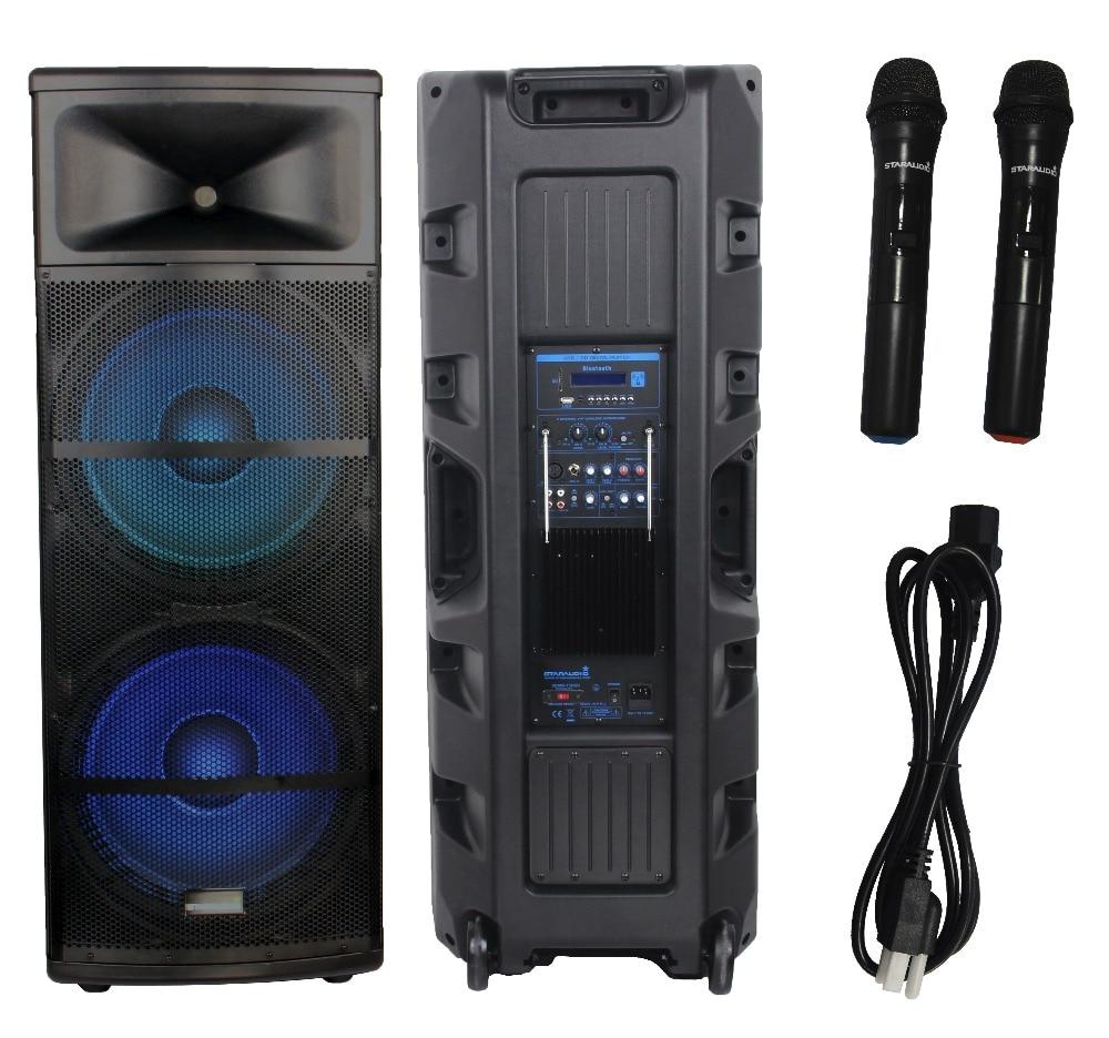 STARAUDIO SDMN-15RGB 1Pc PA DJ 5000W 15″ Powered DJ Stage Speaker W/ LED Light USB SD FM BT 2CH VHF Wireless Microphones