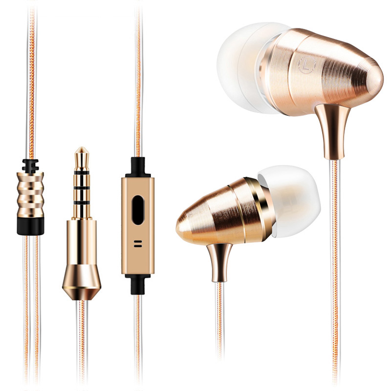 MoreBlue Gold Bullet HIFI Headphone Deep Bass DJ Professional Monitor Earphones Earbuds 3.5mm Universal Headset With Microphone