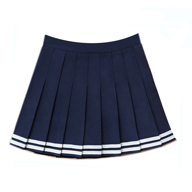 e30785a212 2018 High Waist Denim Pleated Skirts Harajuku Lolita Stripe A -Line Sailor  Skirt Mini Japanese School Skirts Uniform For Women