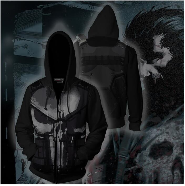 3D Print Punisher Hoodies Sweatshirts Anime Super Hero Fashion Cosplay Tracksuit Casual Zipper hooded Jacket clothing 2019