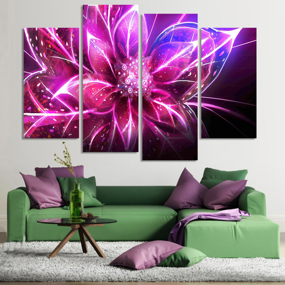 Wall paint purple - 4 Piece Free Shipping Cheap Abstract Modern Wall Painting Purple Pink Flower Home Decorative Art Picture