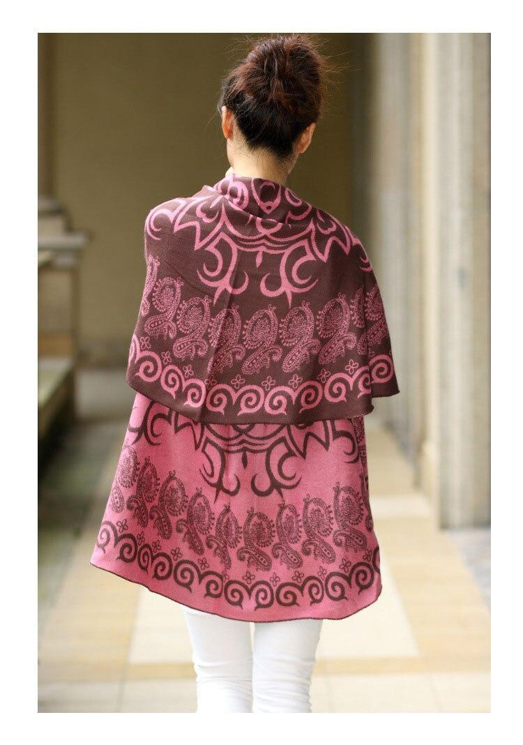 Двусторонняя одежда контрастных расцветок беременных Для женщин шаль беременности и родам шерсти пальто-мантия шаль Девушки, беременные женщины - Цвет: Небесно-голубой