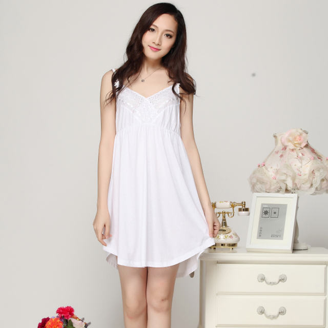 Nightgowns Women Summer Nightwear Cotton women new sexy nighty Dress Thin  Lace White Sexy Sleepwear Women Lounge Sleepshirts 138548398