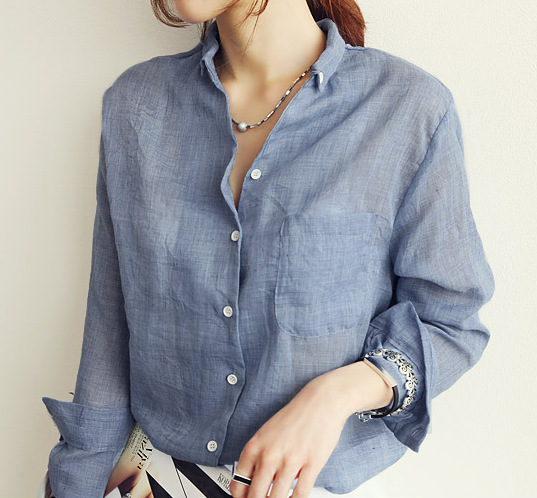 Spring Women Korean Chic Casual Solid Color Long Sleeve Blouse White Grey Blue Cotton Linen Shirts Female Loose Work Shirt Tops