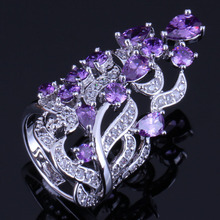 Excellent Huge Plant Purple Cubic Zirconia White CZ 925 Sterling Silver Ring For Women V0530