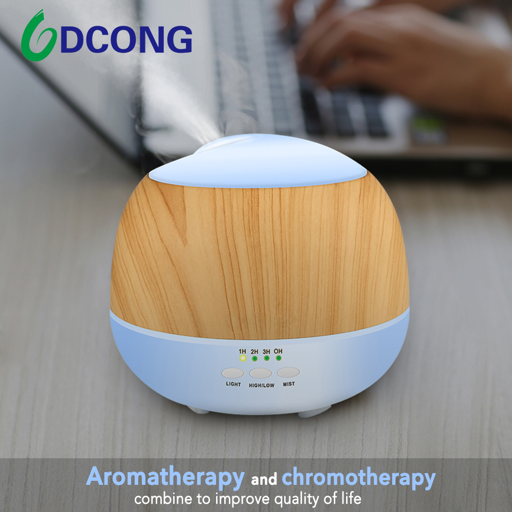DCONG Aroma Diffuser With LED Color Changing Diffusore Oli Essenziali Mist Maker 500ml Wood Grain Humidifier vintage wood grain color block flannel rug