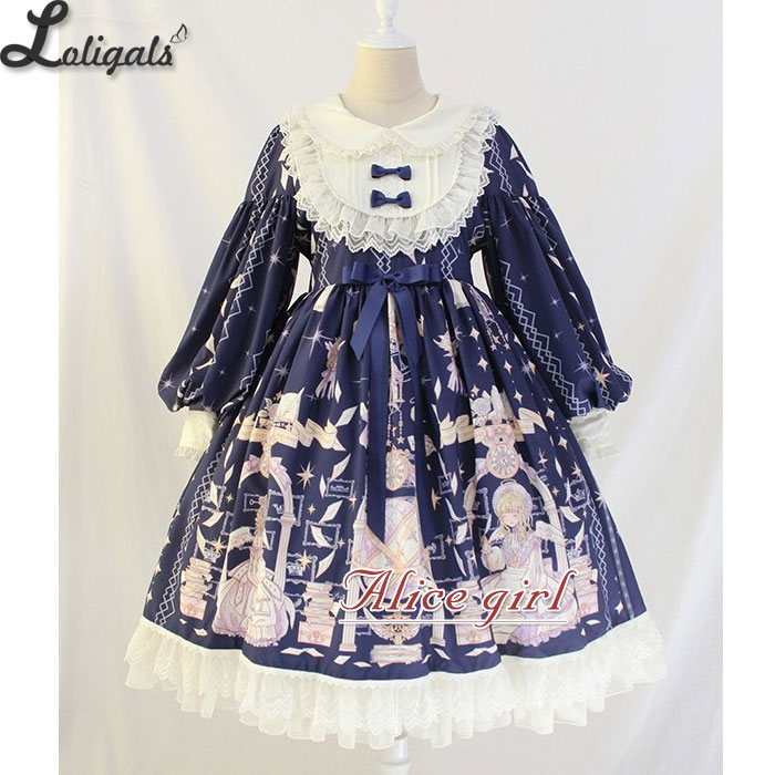 Vintage Long Lantern Sleeve Midi Dress Angel s Book Printed Empire Waist Lolita Dress by Alice