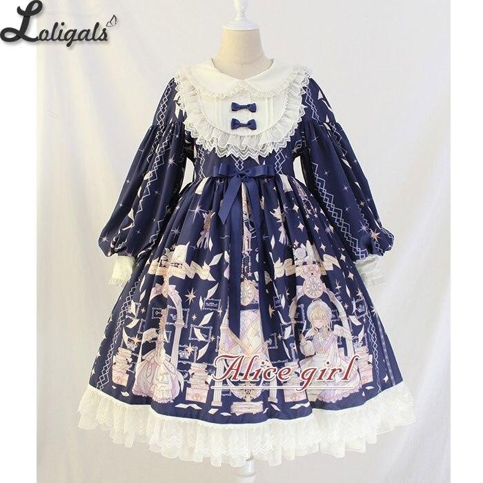 Robe Midi Vintage manches longues lanterne ~ livre d'ange imprimé taille Empire robe Lolita par Alice fille ~ pré commande-in Robes from Mode Femme et Accessoires    1