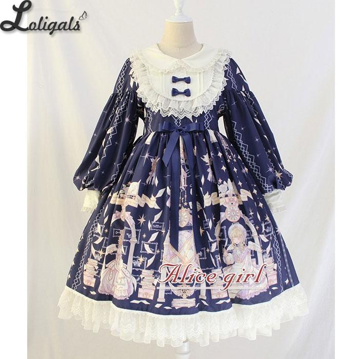 Vestido Midi de manga larga de linterna Vintage ~ vestido Lolita de cintura imperio estampado de libro de Ángel de Alice Girl Pre  Orden-in Vestidos from Ropa de mujer    1