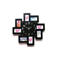 Fashion Wood Black White Wall Clock Family Picture Frame Hanging Wall Watch Quartz Needle Mute Digital Clocks Decoration Crafts